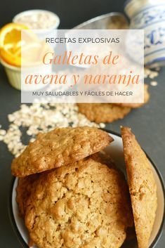 Cómo hacer galletas de avena y naranja muy saludables y fáciles de hacer. Healthy Foods To Eat, Healthy Desserts, Healthy Recipes, Desserts Sains, Snacks Saludables, Pastry And Bakery, Sin Gluten, Love Food, Sweet Recipes