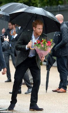 Both princes were presented with bouquets of flowers