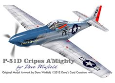 P-51D Mustang Cripes A Mighty - Paper Model Mockup Artwork by Dave Winfield - www.papermodelshop.com