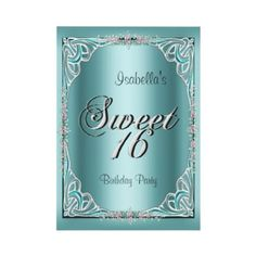 Elegant Sweet Sixteen 16 Teal Blue Long Personalized Invitations