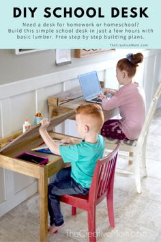 This DIY School Desk is super easy to build for homework or homeschooling during the (coronavirus) quarantine. It is a great solution for homeschool. - The Creative Mom Kids Homework Station, Homework Desk, Kid Desk, School Tables, School Desks, Wood School, Diy School, Small Kids Desk, Homeschool Kindergarten