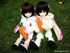 """Dream of Doll DOB Libra aka """"Baby Lydia""""! (on the left) Side note: The bunny costumes are <3"""