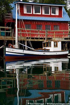 Wooden Boat docked in Halibut Cove, Kachemak Bay, Alaska.