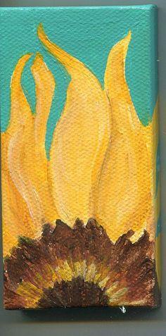 Sunflower mini canvas art 2 x 4  original by SharonFosterArt