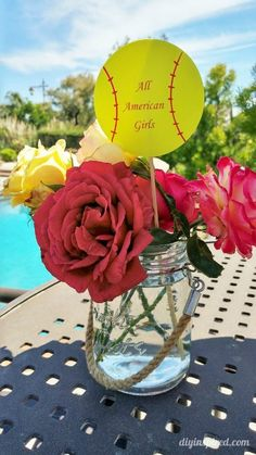 Cheap and Easy DIY Softball Party Decorations for an end of the year pool party along with other budget friendly party ideas.