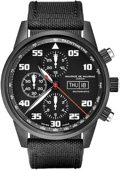 Chronograph Modern CH_MO_044_06_L Mechanical-automatic Swiss Valjoux movement (ETA 77.50) refinded stainless steel case PVD black   Ø 42 mm screw crown, screw pusher   open case back sapphire crystal with anti-reflective treatment on both sides   textile sport strap