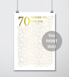 Wedding Anniversary Gift – Anniversary Gift For Parents, Mum and Dad, … – DIY Easy Diy Anniversary Gifts For Him, 40th Wedding Anniversary, 75th Birthday Parties, 70th Birthday Gifts, Old Man Birthday, Birthday Ideas, Printable, Decorations, Ideas Party