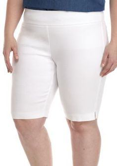 Kaari Blue™ Women's Plus Size Honeycomb Bermuda Shorts - White - 20W