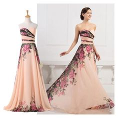 2015 TRENDY FLORAL Wedding HOMECOMING Evening/Formal/Party/Prom Dress ❤ liked on Polyvore featuring dresses, cocktail dresses, formal dresses, formal evening dresses, formal party dresses and holiday cocktail dresses