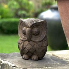 Product Features: Color: Chocolat Antique, Stone Washed Materials: Volcanic ash and cement Weight: 9 pounds Dimensions: 6 inches wide x 6 inches high x 8 inches deep Story Behind the Art: Nyoman Karti Bird Sculpture, Garden Sculpture, Garden Owl, Volcanic Ash, Wood Carving Patterns, Garden Statues, Stone Carving, Wood Art, Decorative Accessories