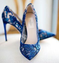 Blue lace wedding shoes