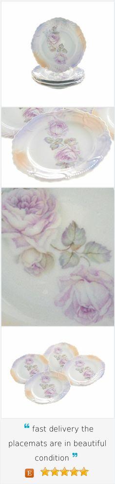 Pink Gray Lustreware Plates Leuchtenburg Desert Plates Set of Four Vintage Porcelain Dishes Germany Pink Roses Gold  Ombre Art Deco Serving