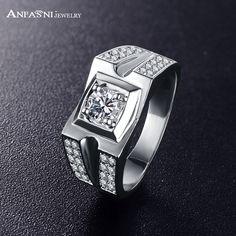 ANFASNI Brand Design Men's Wide Wedding Ring Brand Jewelry Rings AAA CZ Stone Jewellry Wholesale CRI0418-B