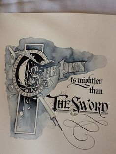 Rosemary Buczek sample sheet for workshop I want to learn to combine pen and ink with watercolor. Calligraphy Quotes, Calligraphy Letters, Typography Letters, Typography Design, Illuminated Letters, Illuminated Manuscript, Alphabet, Beautiful Calligraphy, Creative Lettering