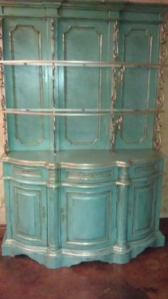 Hand Painted turquoise hutch...get this look with Chalk Paint® decorative paint by Annie Sloan in Provence!