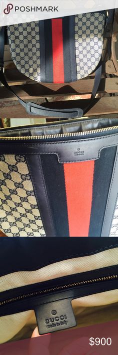 Gucci canvas navy web stripe crossbody Good condition! Perfect size and color for the summer. Comes with Gucci purse bag. Gucci Bags Crossbody Bags