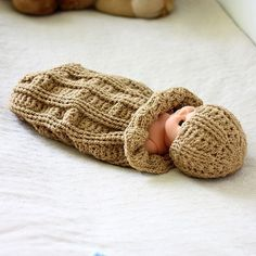 Instant download - Crochet PATTERN (pdf file) - Baby Cocoon and Hat Set