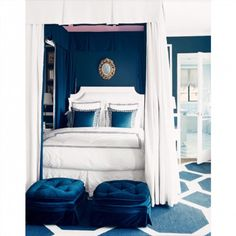 Part 2 of 3 #homedesign #interior #interiordesign #home #design #interiordecorating #homedecor #room #blueroom #blueandwhite #furniture #somethingblue #lifestyle #bedroom #bed #bedtime #canopy #rug #pillows #pillow #ottoman #headboard #comforter #white