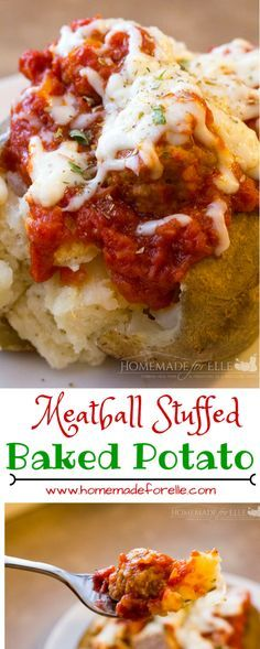 Meatball Stuffed Baked Potatoes - baked potatoes mixed with ricotta cheese, topped with homemade meatballs, marinara sauce and mozzarella cheese | homemadeforelle.com Baked Potato Toppings, Baked Potato Bar, Baked Potato Recipes, Beef Recipes, Real Food Recipes, Cooking Recipes, Loaded Potato, Skillet Recipes, Baked Cheese