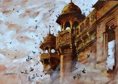 This acrylic-on-canvas work is from my series Banaras that celebrates the sights and sounds of the holy city in the heart of India. Only on Fresh Easel. Colour Architecture, Watercolor Architecture, Indian Architecture, Watercolor Paintings Nature, Watercolor Landscape, Watercolour, Islamic Paintings, Indian Art Paintings, Pencil Portrait Drawing