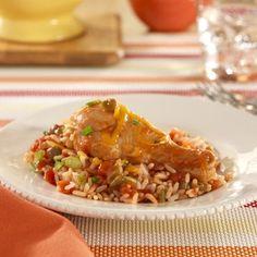 RO*TEL Fiesta Chicken: A spicy tomato turns ordinary chicken into Fiesta Chicken in this simple dinner recipe for Cinco de Mayo parties!