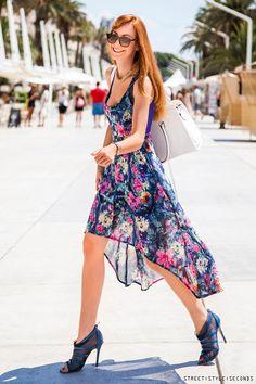 high low floral dress, street style Split, summer fashion