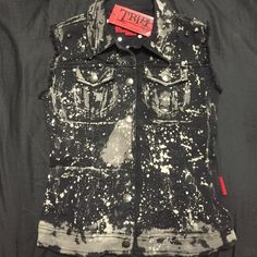 NWT TRIPP STUDDED VEST Acid wash best with spike accents and skull buttons. NWT. NO LOWBALL OFFERS, any received will be ignored, I price my items fairly. Tripp nyc Tops Tank Tops