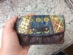 Authenic Fossil Brown Leather Patchwork Wallet Coin Purse ID Card Holder Clutch #Fossil #MiniWallet
