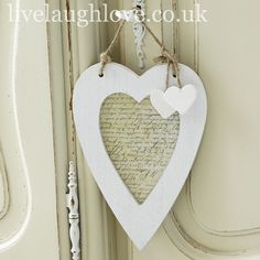 Hanging Naive Heart Photo Frame-White £3.95