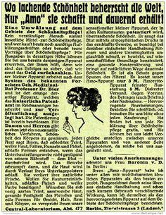 Original-Werbung/ Anzeige 1910 - SCHÖNHEIT - AMO - APPARAT /CENTRAL-LABORATORIUM…