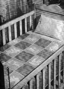 Nursery Land of Nod Baby Crib Blanket Filet Crochet Animal Block Pattern - Vintage Crafts and More