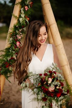 Take a look at these beautiful Bride's hair! Wedding make-up. Tipi Wedding, Hair Wedding, Wedding Make Up, Diy Tipi, Boho Bride, Bride Hairstyles, Beautiful Bride, Boho Decor, Wedding Inspiration