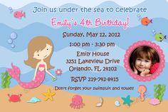 Beautiful Mermaid Birthday Invitation, Photo Invitation, DIGITAL, Printable, Matching Thank You Card, Party Favors Available