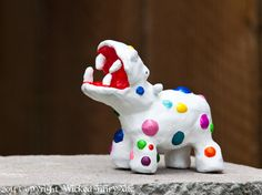 Polka dot Hippo Clay Sculpture Painted Art by WickedFairyTaleArt, $60.00