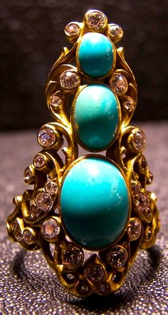 Turquoise, Diamond & Gold RING