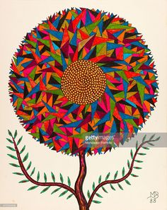 'Untitled, by Mario De Biasi, from the ''Flowers'' series, 1988, 20th Century, drawing Private collection. Whole artwork view. The drawing depicts a big compact flower with its corolla consisting of tens of triangles of different measures and colours; the core of the flower is composed of a series of yellow little circles; from its stalk originate two branches full of little leaves. (Photo by Mario De Biasi/Mondadori Portfolio via Getty Images)'