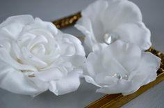 White Silk Flowers Made With Swarovski by JanaRoyaleDesign on Etsy