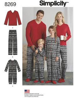 Items similar to Christmas Pajamas Family Pajamas Jumpsuits Child Teen Adult All Sizes in One Simplicity 8269 Uncut FF Sewing Pattern on Etsy Family Pjs, Family Christmas Pajamas, Christmas Morning, Pajama Pants Pattern, Jumpsuit Pattern, Sewing Kids Clothes, Sewing For Kids, Sewing Ideas, Sewing Projects