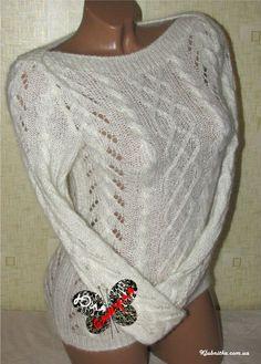 Белоснежный свитерок со съемным хомутом (кидмохер+шелк) » Клуб-Нитка - вязание спицами и не только