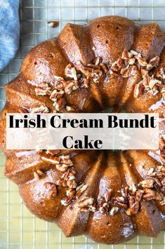 Moist and flavorful Irish Cream Bundt Cake that's made without any alcohol. This easy cake that begins with a cake mix is perfect St. Patrick's Day dessert recipe! Desserts Menu, Best Dessert Recipes, Delicious Desserts, Plated Desserts, Cupcake Recipes, Yummy Recipes, Holiday Bundt Cake Recipe, Cupcake Cakes, Bundt Cakes