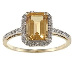 Viducci 10k Gold Emerald-cut Gemstone and 1/5ct TDW Diamond Ring brown ($213) ❤ liked on Polyvore featuring jewelry, rings, brown, brown diamond ring, gold rings, pave band ring, pave diamond ring and gold diamond rings