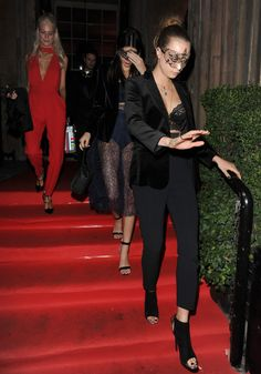 Cara Delevingne, Kendall Jenner & Poppy Delevingne leaving Eva Cavalli's birthday party, October 9, 2015.