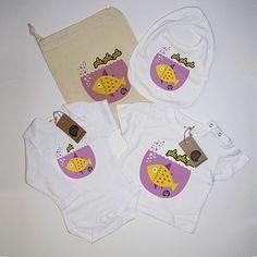 #Pack nacimiento #pez amarillo #body #camiseta #babero #infantil #diseño #personalizado @chussbarranco