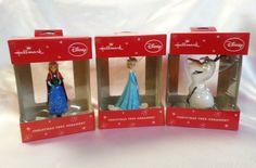 Disney Frozen Hallmark 2014 Christmas Ornaments Elsa Anna Olaf Set of 3 New #Hallmark