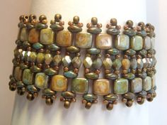 Stunning SuperDuo Tile Bead Bracelet by ReggiesCreations on Etsy, $35.00