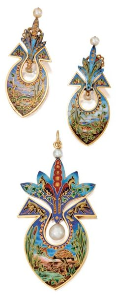 Antique Gold, Enamel and Pearl Pendant and Ear Clips, Circa 1870. The pendant applied with cloisonné enamel depicting an egret grasping a frog by a reeded pond ascending into flanking stylised dragons heralded above by two birds perched on foliate branches, accented by pearls, the ear clips applied with cloisonné enamel depicting fish in a reeded pond ascending into stylised dragons, accented by pearls, ear clip backs latter added.