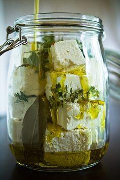 marinated feta in a jar