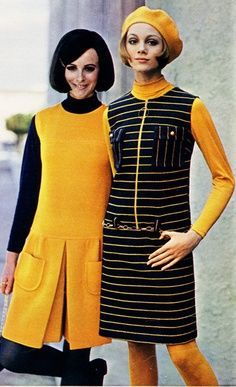 """yellow is not a dress but culottes, which was guaranteed to get you suspended from school in the 1960s i.e. """"no pants/culottes for girls"""""""