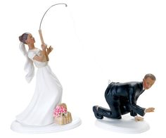 Caught him! Wedding cake topper