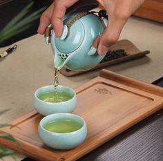 Celadon blue porcelain Chinese tea set 1 pot + 2 Cups + 1 wooden tray